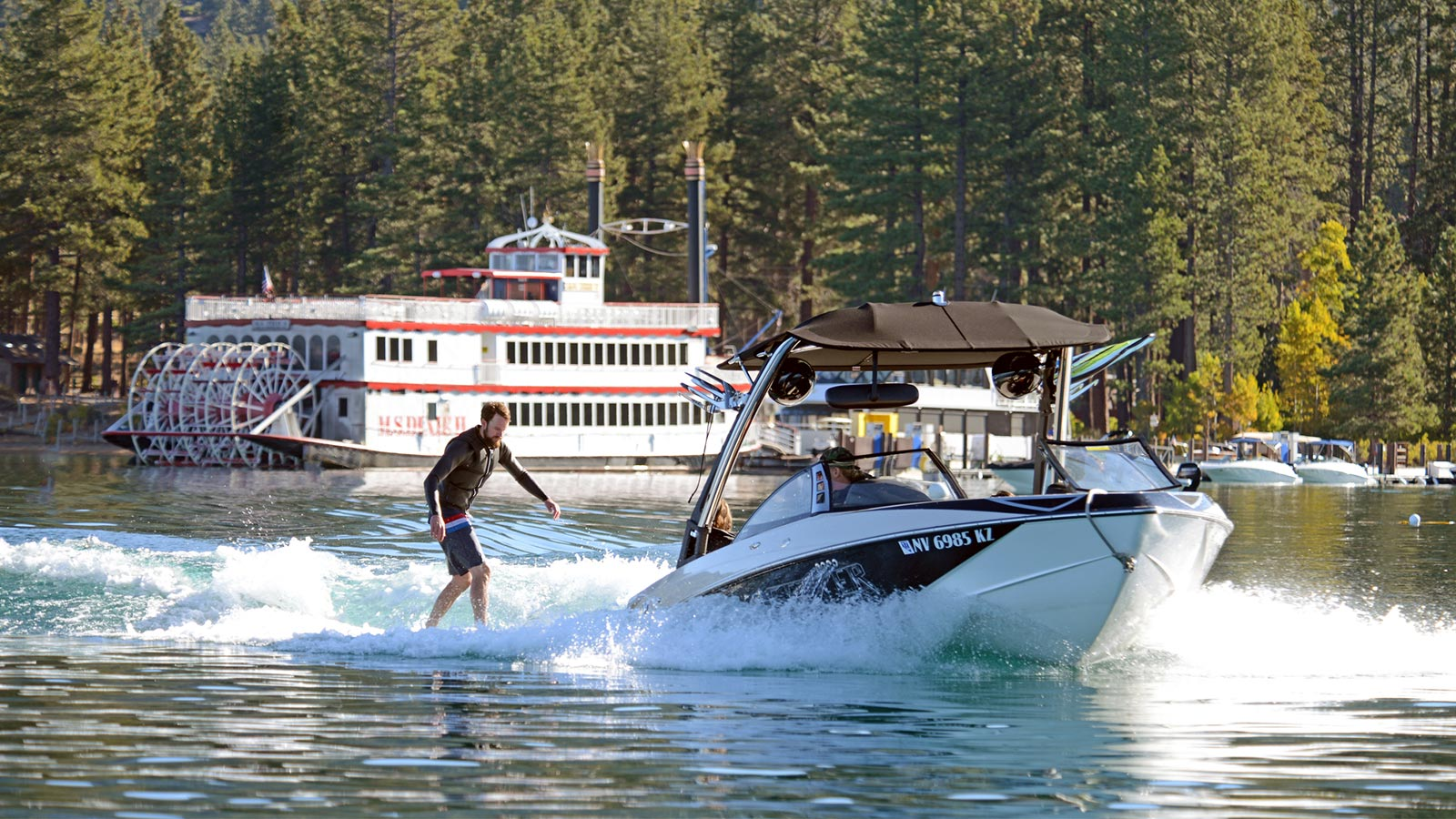 Powerboats at Zephyr Cove Marina, Lake Tahoe